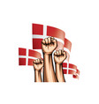 denmark flag and hand on white background vector image