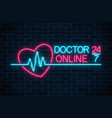 doctor online glowing neon logo on dark brick vector image vector image
