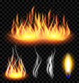 Fire and smoke set on translucent background vector image