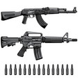 firearms set automatic machine gun vector image