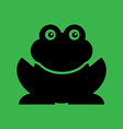 Flat frog on green background vector image vector image
