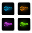 glowing neon key icon isolated on white vector image vector image