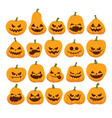 halloween set of funny and scary pumpkins vector image