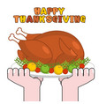 happy thanksgiving turkey cooking roast fowl on vector image vector image