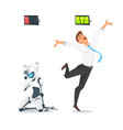 human businessman vs robot vector image