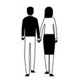 man and woman holding hands walking back view vector image vector image