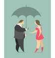man and woman under an umbrella vector image