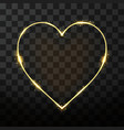 neon frame in heart shape on transparent vector image vector image