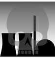 nuclear power station skull grey vector image