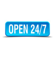 Open 24 7 blue 3d realistic square isolated button vector image