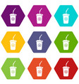 plastic glass juice icons set 9 vector image