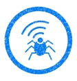 Radio Spy Bug Rounded Icon Rubber Stamp vector image