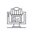 remote trading line icon concept remote trading vector image vector image