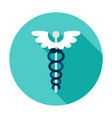 rod asclepius circle icon vector image