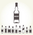row of icons of alcohol bottels - booze set vector image