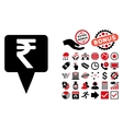 Rupee Map Pointer Flat Icon with Bonus vector image vector image