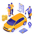 sale insurance rental sharing car isometric vector image vector image