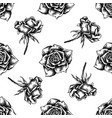 seamless pattern with black and white roses vector image