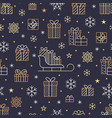 seamless pattern with gold snowflakes and presents vector image