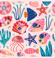 seamless pattern withunderwater sea life vector image