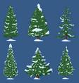 set winter cartoon pine trees vector image vector image