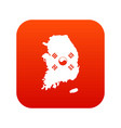 south korea map with flag icon digital red vector image vector image