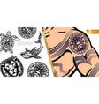 vintage tattoo symbols concept vector image