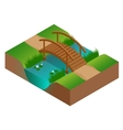 Wooden bridge at the river Flat 3d vector image vector image