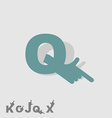 Letter Q Logo letters with a hand Finger pointing vector image