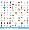 100 motivational icons set cartoon style vector image vector image