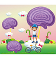 A boy above a cloud near the candyland vector image vector image