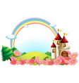 A castle with blooming flowers vector image vector image