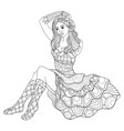 adult coloring bookpage a cute girl with dress vector image vector image