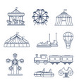 amusement park icon set in line art style vector image vector image