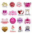 big set of logos for wedding vector image