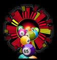 bingo lottery balls falling from cityscape border