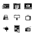 black advertisement icons set vector image vector image