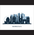 bordeaux skyline monochrome silhouette vector image