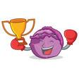 boxing winner red cabbage mascot cartoon vector image vector image