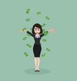 business woman throwing dollar cash money vector image