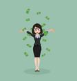business woman throwing dollar cash money vector image