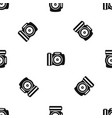 camera pattern seamless black vector image vector image