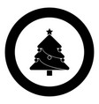 christmas tree black icon in circle vector image