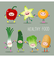 Collection of cartoon fruits and vegetables vector image vector image