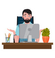 confused man sitting on an office chair at a vector image vector image
