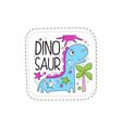 dinosaur patch badge cute cartoon animal sticker vector image
