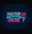 doctor online glowing neon logo mobile medicine vector image vector image