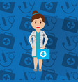doctor woman with uniform standing holding kit vector image vector image