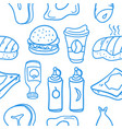 fast food various doodles vector image vector image