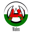 flag of wales of the world in the form of a sign vector image
